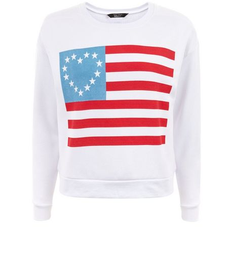 Teen White American Flag Sweater | New Look