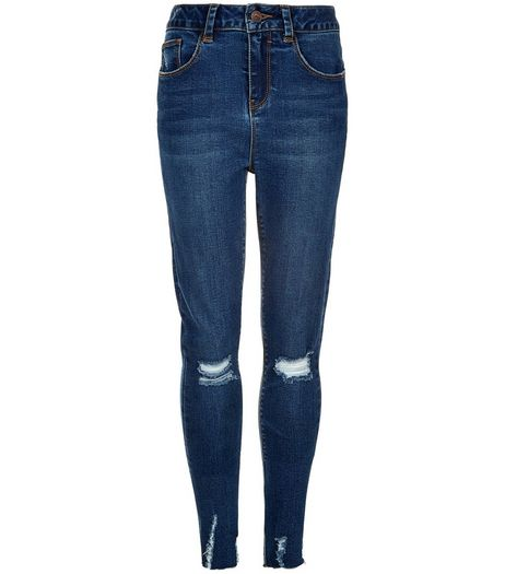 Teens Blue Ripped Knee Frayed Hem Skinny Jeans | New Look