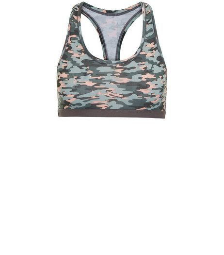 Teens Khaki Camo Print Racer Back Crop Top  | New Look