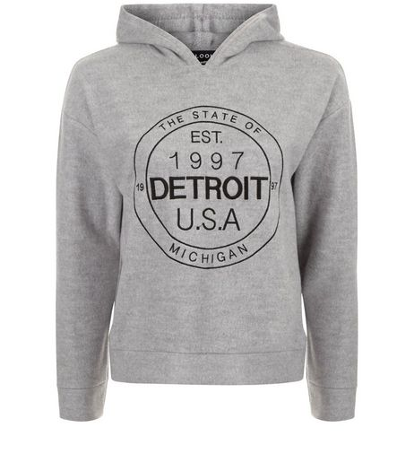 Teens Grey Brushed Embroidered Detroit Hoodie | New Look