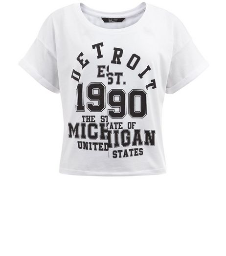 Teens White Detroit Print Crop T-shirt | New Look