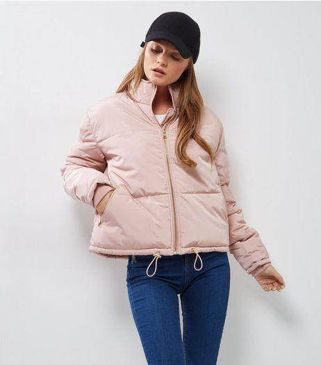 Shell Pink Padded Puffer Jacket  | New Look