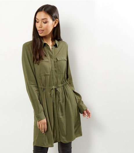 Khaki Tie Waist Shirt Dress | New Look
