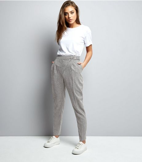 Grey Speckled Buckle Wrap Front Trousers  | New Look