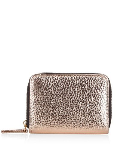 Gold Metallic Zip Around Cardholder | New Look