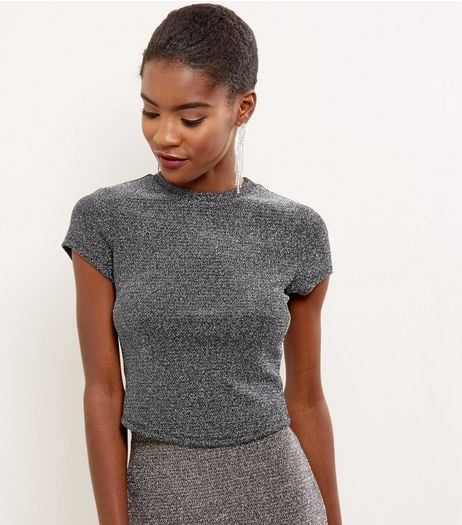 Silver Metallic Short Sleeve Crop Top  | New Look