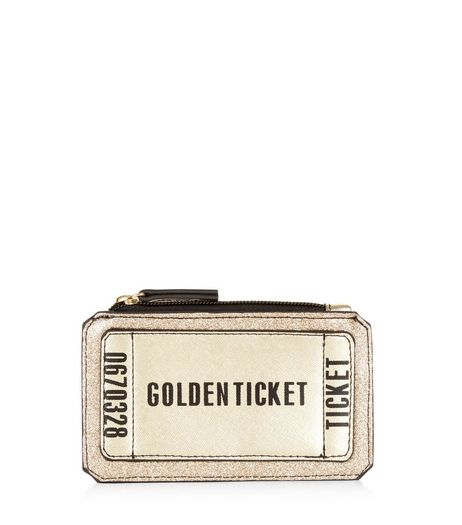 Gold Golden Ticket Zip Top Purse | New Look