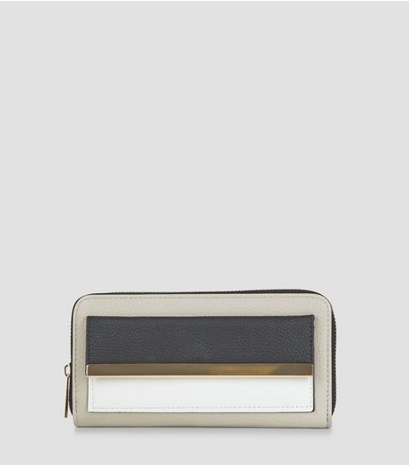 Grey Colour Block Metal Trim Zip Around Purse | New Look