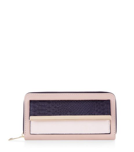 Pink Pocket Front Metal Trim Purse | New Look