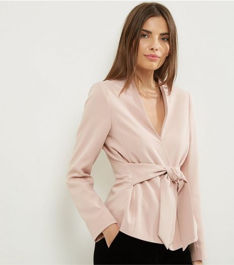 Shell Pink Tie Front Cropped Jacket  | New Look