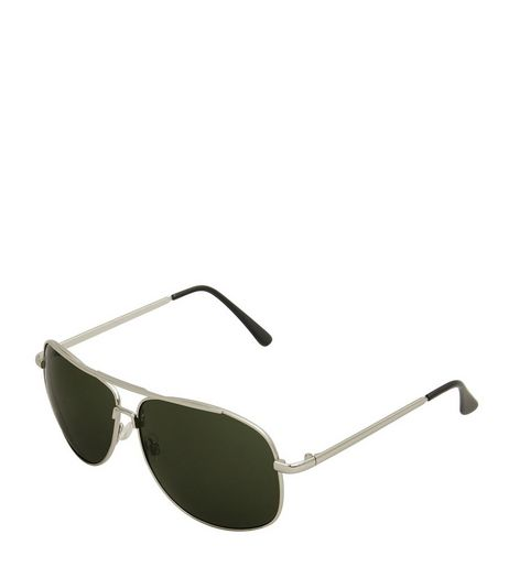 Silver Bar Top Dark Lens Pilot Sunglasses | New Look