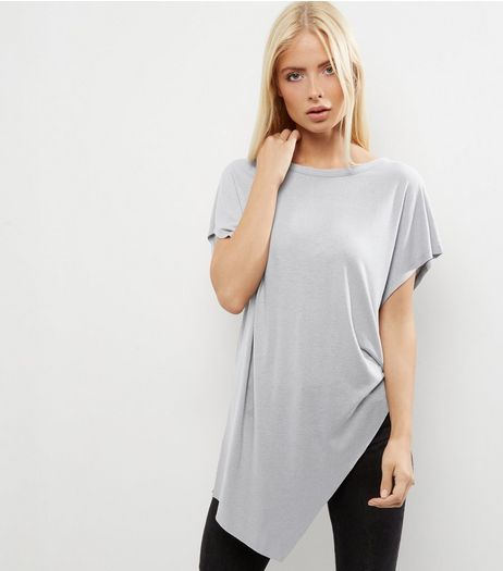 Grey Asymmetic Hem Wrap Front Longline T-Shirt  | New Look