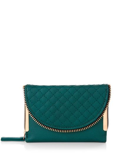 Green Quilted Zip Detail Purse | New Look