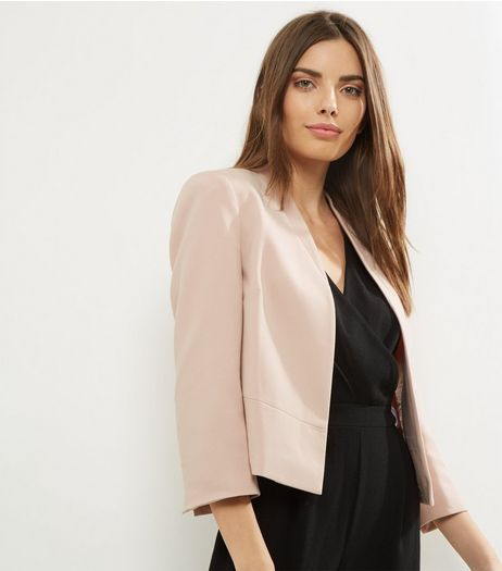 Shell Pink Cropped Smart Jacket  | New Look