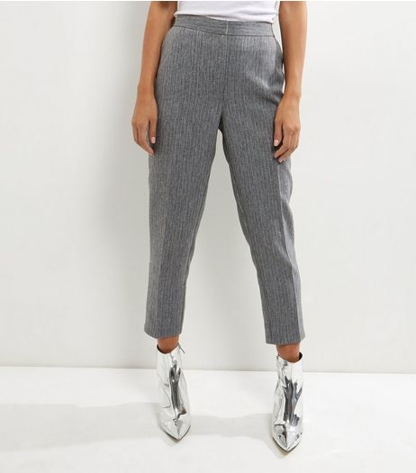Grey Pinstripe Slim Leg Trousers | New Look