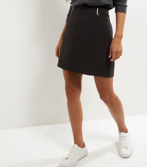 Black Crepe A-Line Skirt