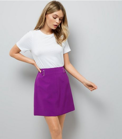 Purple Eyelet Trim Crepe A-Line Skirt  | New Look