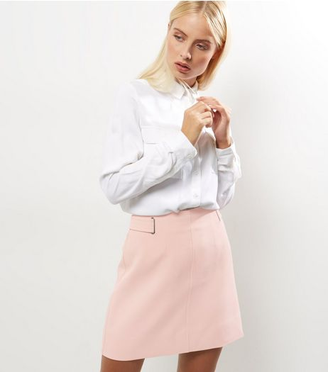 Shell Pink Crepe Eyelet Trim A-Line Skirt  | New Look