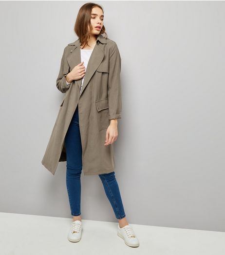 Khaki Soft Belted Military Trench Coat | New Look