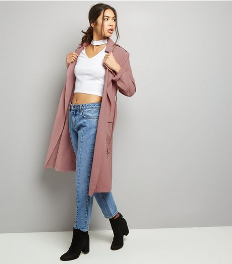 Shell Pink Soft Belted Military Trench Coat  | New Look