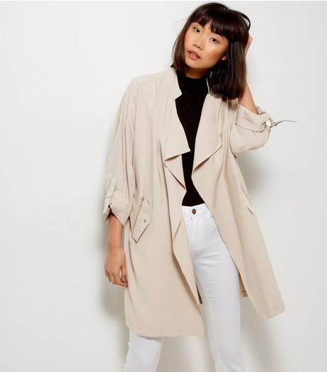 Stone Waterfall Duster Jacket  | New Look