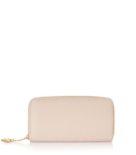 Pink Snakeskin Charm Zip Around Purse | New Look