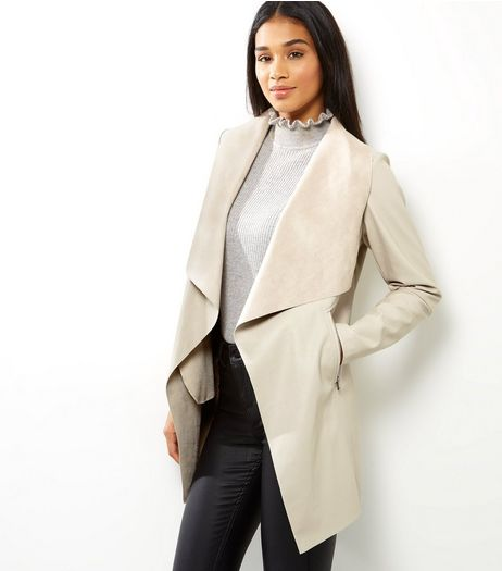 Stone Leather-Look Longline Waterfall Jacket | New Look