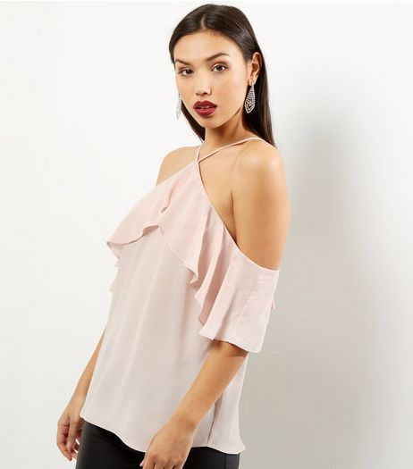 Shell Pink Halter Neck Frill Trim Top | New Look