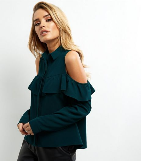 Dark Green Frill Trim Cold Shoulder Shirt  | New Look