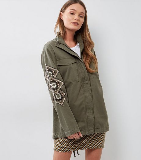 Khaki Patch Double Pocket Shacket  | New Look