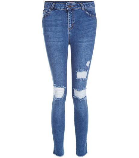 Teens Blue Step Hem Ripped Jeans | New Look