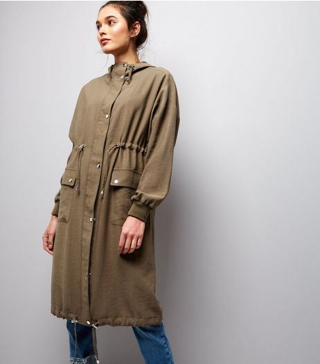 Khaki Hooded Drawstring Hem Longline Duster Coat | New Look