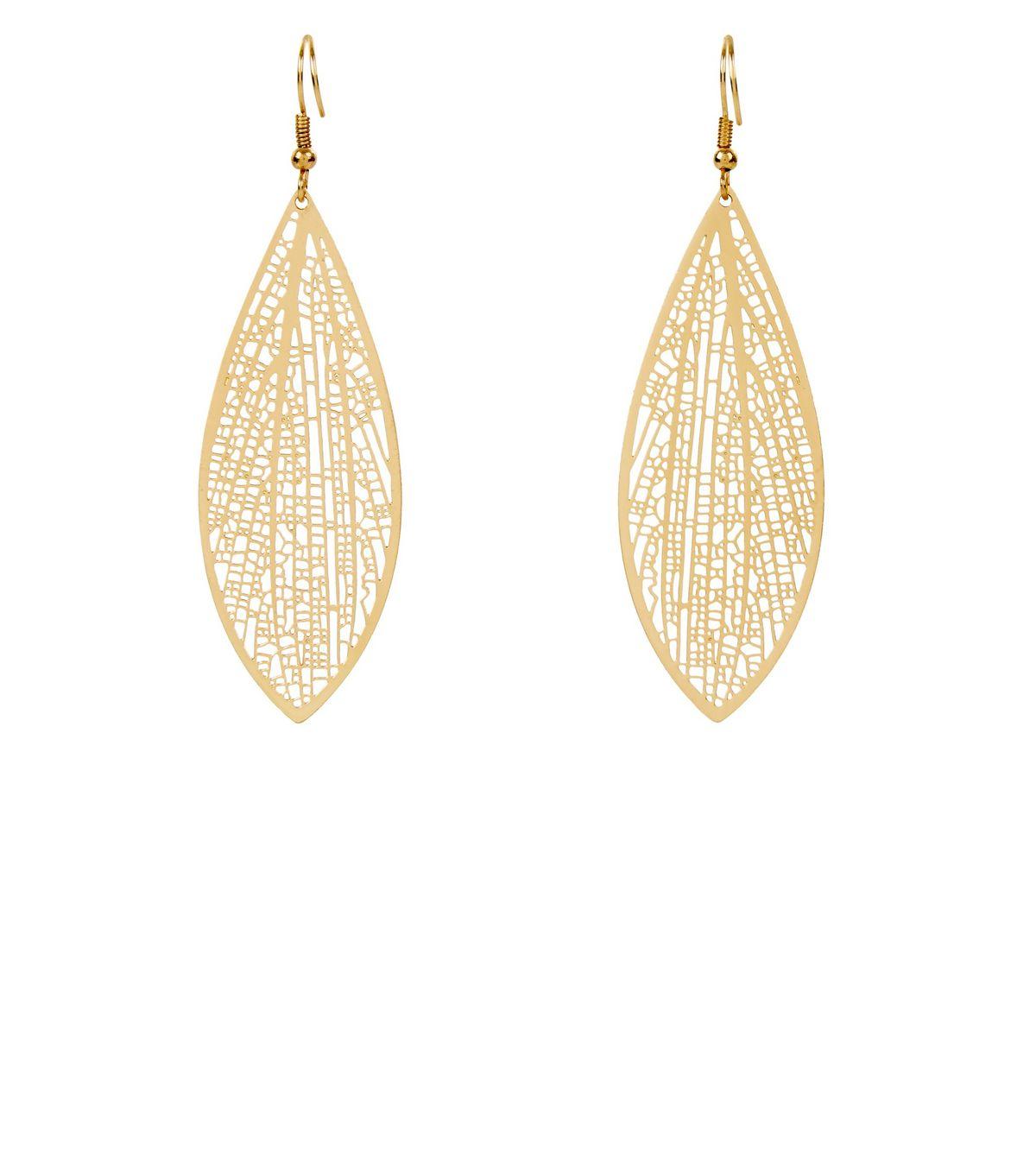 Gold Skeleton Leaf Earrings | New Look