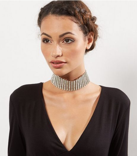 Silver Diamante Layered Choker | New Look