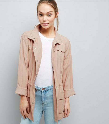 Shell Pink Drape Shacket  | New Look