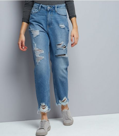 Blue Ripped Straight Leg Jeans | New Look