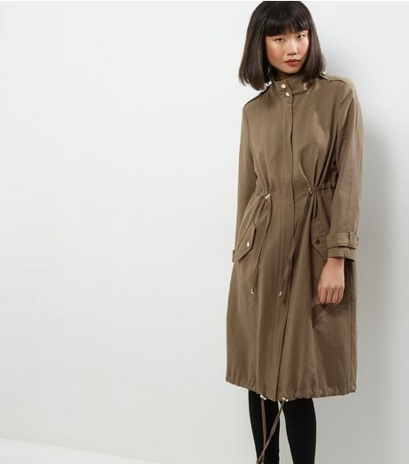 Khaki Drawstring Waist Duster Coat  | New Look