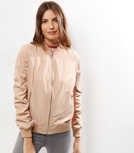 Shell Pink Ruched Sleeve Bomber Jacket  | New Look