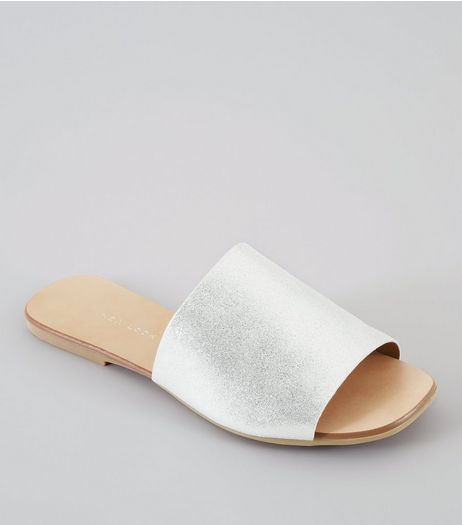 Wide Fit Silver Leather Mules | New Look