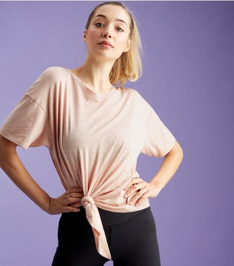 Shell Pink Knot Side Sports T-Shirt  | New Look