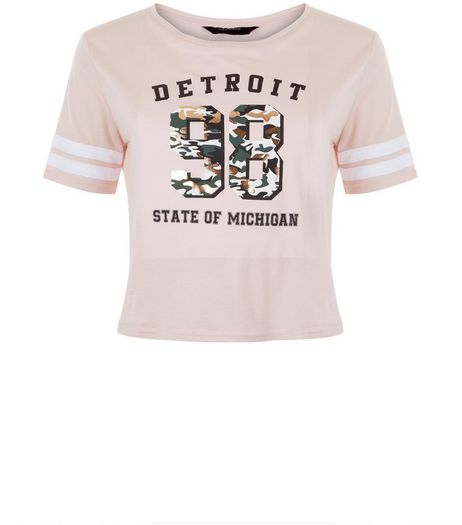 Teens Pink Contrast Sleeve 98 Detroit Print Foil T-Shirt | New Look