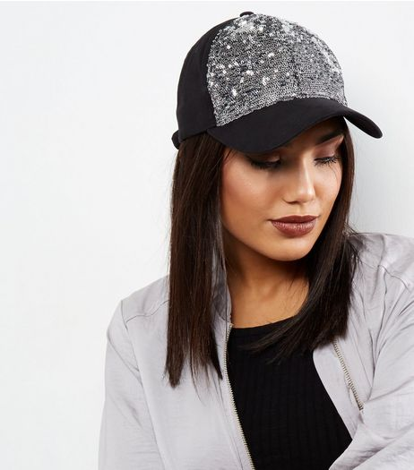Silver Sequin Front Cap | New Look