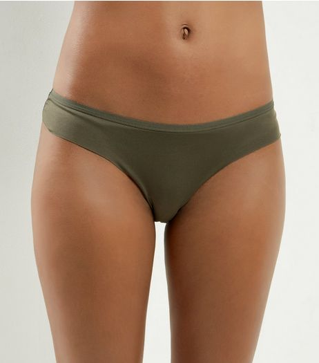 Khaki Lace Back Thong | New Look