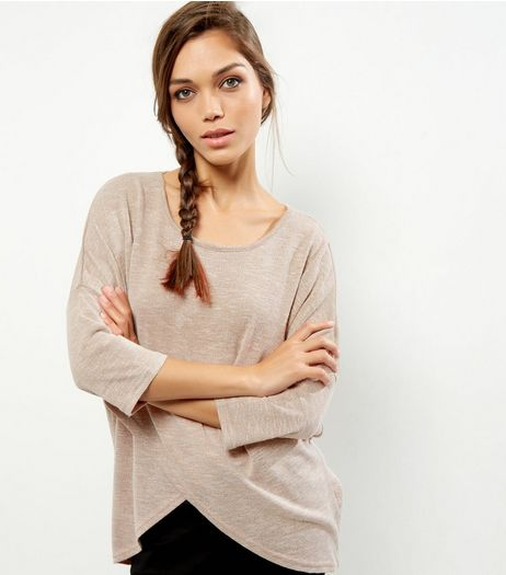 Apricot Stone Wrap Front Jumper | New Look