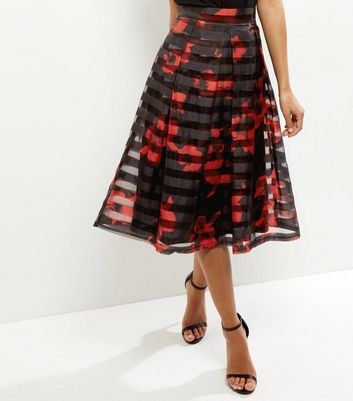 Product photo of Apricot black floral print mesh skirt