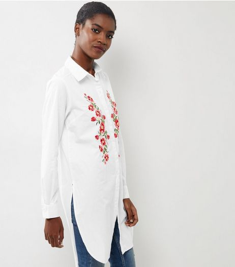 White Floral Embroidered Longline Shirt  | New Look