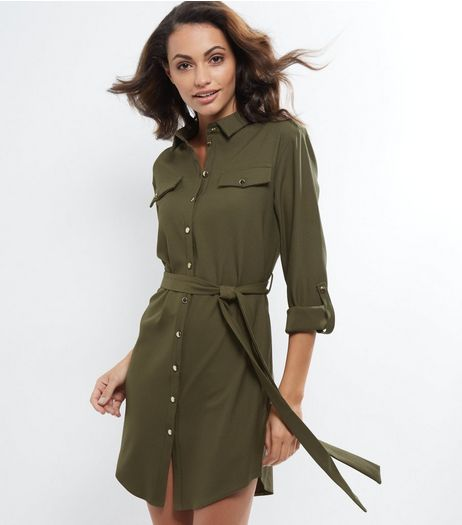 Cameo Rose Khaki Belted Utility Shirt Dress | New Look