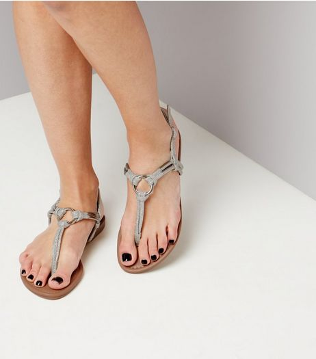 Silver Glitter Metal Ring Toe Post Sandals | New Look