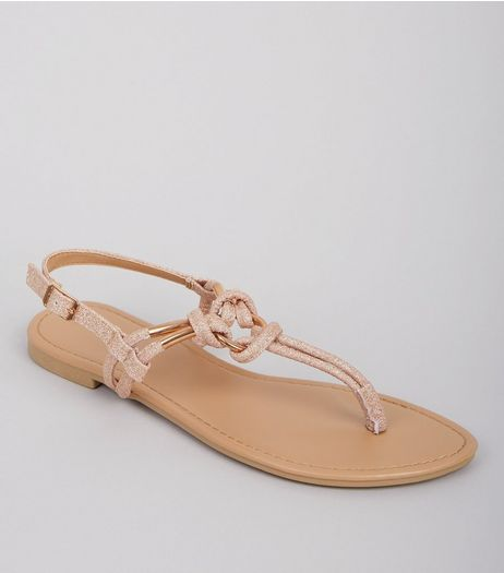 Rose Gold Glitter Metal Ring Toe Post Sandals | New Look