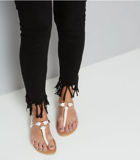 White Metal Ring Toe Post Sandals | New Look